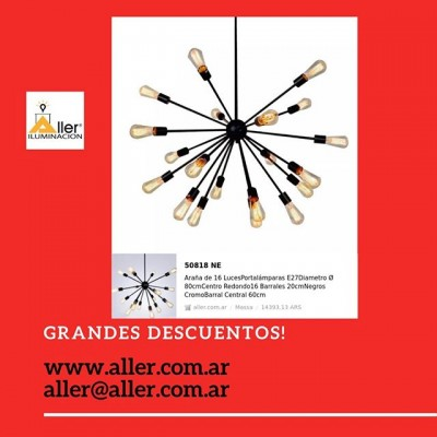 ARAÑA EXPLOSION  LAMPARAS VINTAGE #led #iluminacion #decoracion #decor #fashion #2018 #model #instagram #love #nice #argentina Instagram #comprasonline #shoppingonline #decoration #de #decoracion Instagram #revistas de decoracion argentina #decoracion #deco #diseño #diseñodeinteriores#arquitetura #arquitectura  #decoracionenbuenosaires #iluminacionarquitectonica #moda #iluminacion#alleriluminacion #comedor #cocinas #living #dormitorios 🌐-www.aller.com.ar 📩-aller@aller.com.ar 🚚-Envios a todo el país ☎ +54 11 4816.-4293 ☎ +54 11 4811-6432 📱 +54 911-4163-1890 🌎 Libertad1252(1012) Buenos Aires-Argentina